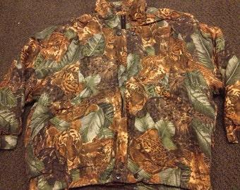 Vintage Wildlife Animals Tiger All Over Print Jacket sz:S