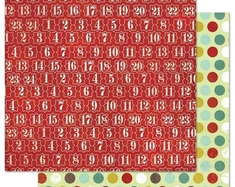 2 Sheets of My Mind's Eye MISTLETOE MAGIC 12x12 Christmas Scrapbook Paper - Red Number