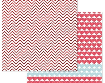 2 Sheets of My Mind's Eye CUPID'S ARROW 12x12 Valentine's Day Foil Stamped Scrapbook Paper - Chevron