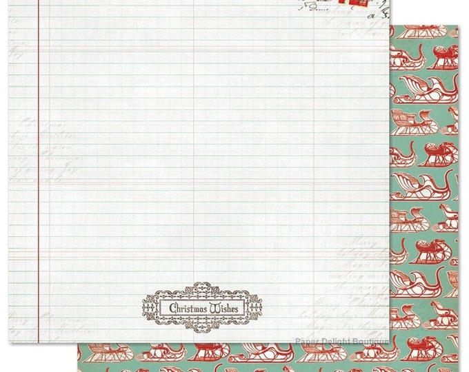 2 Sheets of My Mind's Eye MISTLETOE MAGIC 12x12 Christmas Scrapbook Paper - Ledger
