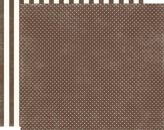 2 Sheets of Echo Park Paper DOTS & STRIPES Homefront 12x12 Scrapbook Paper - Chestnut Tiny Dots