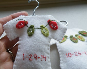 Custom/Personalized Baby Christmas Ornament--Wool Felt Onesie on Wire Hanger, Baby's First Christmas