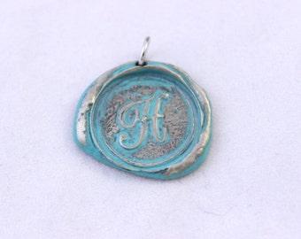 Metal Wax Pressing Initial H Pendant, Silver Tone Letter H Pendant, Letter H Charm