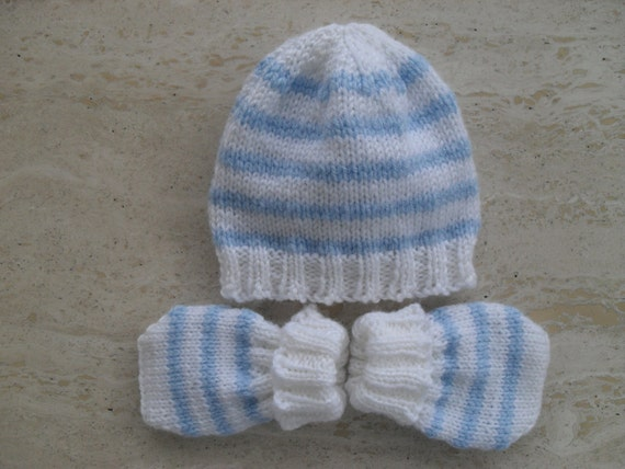 Knitting Pattern For Baby Hat And Mittens : Instant Download Knitting Pattern Baby Boy Hat & Mittens