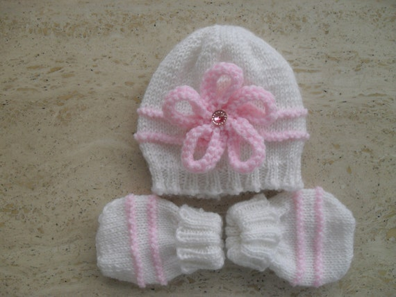Instant Download Knitting Pattern Baby Girl Hat & Mittens