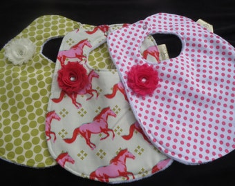 shabby chic baby girl bib set of 3 - in Amy Butler and Melody Miller Fabrics - absorbent & ready to ship!
