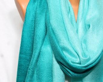 Teal Aqua Scarf Shawl Fall Winter Fashion Holiday Fashion Hijab Turban Fringed Shawl Scarf Women's Fashion Accessories Gift Ideas