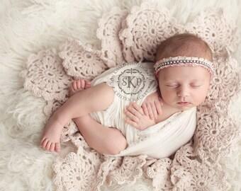 Crochet Blanket Pattern, Floral Blanket Pattern, Photo Prop, Ilinca