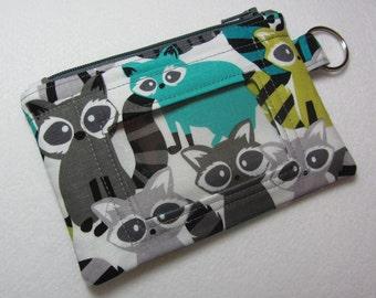 Aqua / Teal Raccoon / Racoon Keychain ID Wallet w/ Split Ring, Student, Teacher, Work ID, Badge Holder, Zip Pouch - 2 Options for ID Pocket