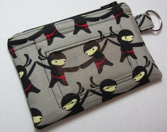 Ninja Keychain ID Wallet w/ Split Ring, Student / Teacher / Work ID, Badge Holder, Zip Pouch, Warrior, Japan - 2 Options for ID Pocket