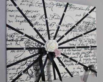 Memo board, memory board, vision board, fabric wall art, French memo board, memory boards, notice board, bow holder, French script, Paris