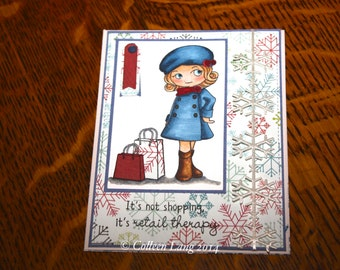 Handmade, hand stamped, Copic colored, Greeting Card