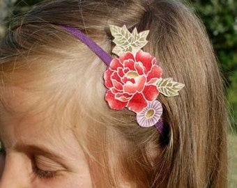 Red Peony and Parma Margarita flower hairband