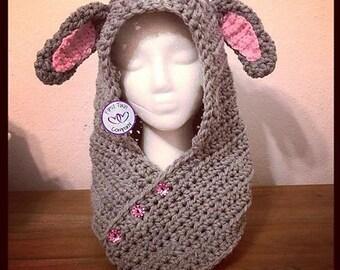 Lamb Hooded Scarf/Cowl Crochet Pattern, lamb pattern, lamb scarf, lamb cowl, crochet lamb