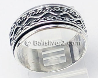 Sterling ,Silver,925, Bali, Band Ring Spin Ring R201 Ring Size US #  8