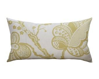 ON SALE - Schumacher Bali Vine Bird Lumbar Pillow Cover in Chartreuse