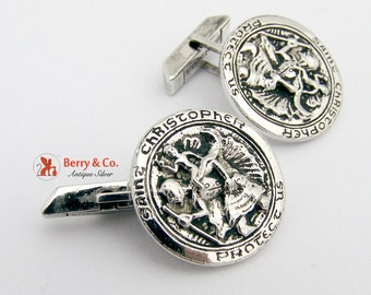 Vintage Cufflinks St Chrystopher Sterling Silver