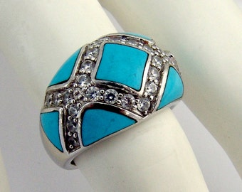 Turquoise Ring Zirconium Sterling Silver