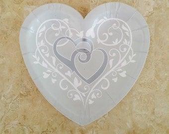 "Wedding Bliss Heart Shape 7"" Dessert Paper Plates (24 plates) Perfect for Weddings, Bridal Shower, Engagement Plates & Silver Anniversary"