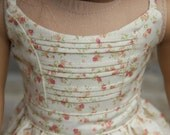 Floral Strap Dress with Front Pin Tucks  Pink Floral on Cream for 18 inch dolls