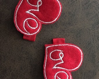 Pair of Valentine's Day Love Feltie Hair Clips Red and White Embroidery