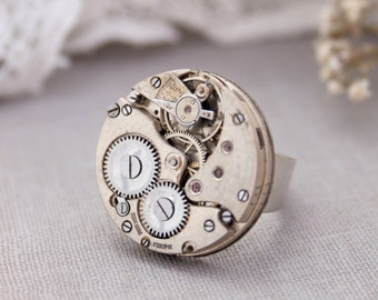 Silver Statement Ring Steampunk Jewelry Timepiece Grey Ring with Rubies Adjustable Steampunk Ring Watch Parts Jewellery Birthday Gifts