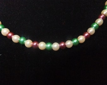 Ivory, Green, and Purple Pearl Necklace