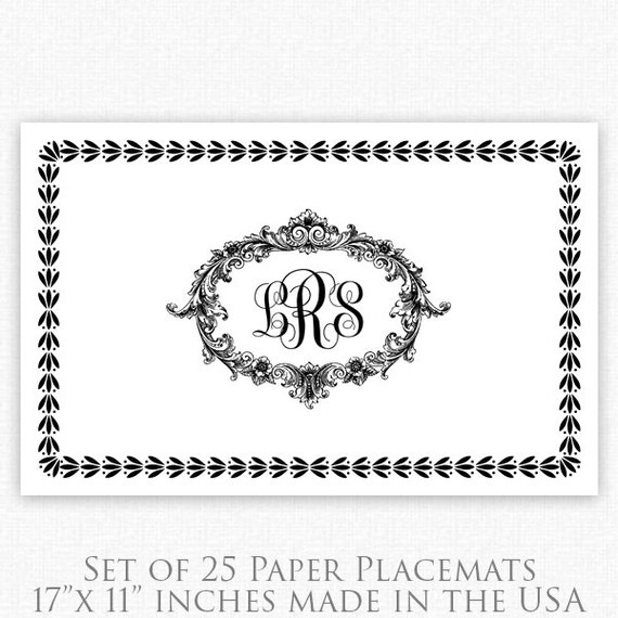 black and white wedding monogram placemats baroque paper. Black Bedroom Furniture Sets. Home Design Ideas
