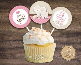 """Instant Download 2"""" Pink Lamb Cupcake Toppers, Printable Lamb Baby Shower Cupcake Toppers, Its A Girl Baby Shower Pops, Baby Gift Tags 39A"""