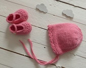 knitted baby bonnet + crochet booties - baby set - knit baby - handmade baby - baby girl knit