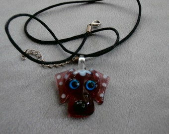 Handmade, Beautiful Murano Glass Dog Face/Head Necklace-  Pick Your Color!, Dog, Animal Lover, Animal