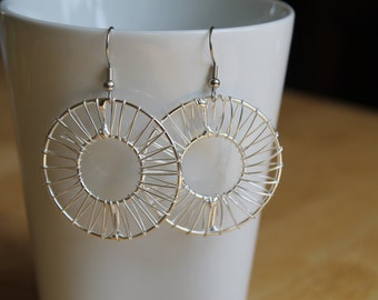 Silver Circle Wrap Wire Earrings