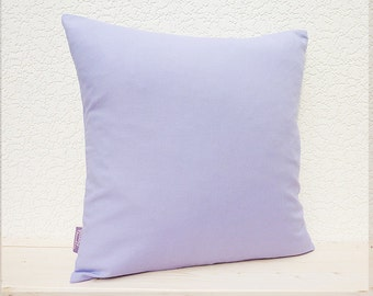 "Handmade 16""x16"" Cotton Home Decor Cushion Accent Pillow Cover in Plain Pale Lavender"