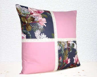 """MADE TO ORDER - Handmade Rose Blossoms and Lace Steel Grey/Dusky Pink Pillow Cushion Cover 16""""x16"""" (indoor)"""
