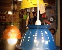 Metal Colander Lampshade Upcycled Industrial Vintage