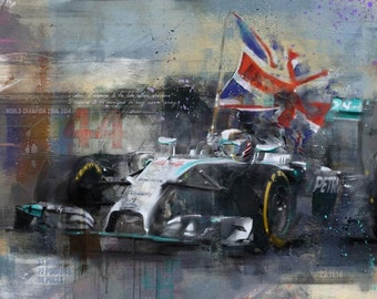 Taking the Title: limited edition print of Lewis Hamilton