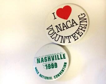 Lot of Two NACA Badge Pin Back Collectible 1989