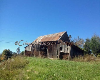 Old Barn Photography, Rural Art, Farmland Photography, NC Landscape, Abandoned Barn, Country Chic, rustic,rusted Metal Roof, 5x7, 8x10 Print