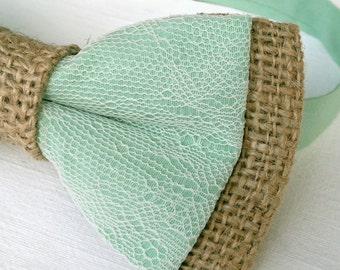 Men's burlap lace bow tie - tan burlap mint green cotton ivory lace mixer necktie Prom Wedding Grooms Gift for him