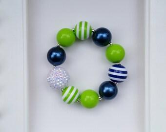 Adult Sized Seahawks inspired bracelet, Seahawks bracelet, Seahawks jewelry, Seahawks chunky jewelry