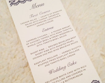 100 Lace Menu Cards