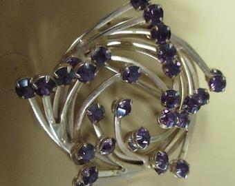 Vintage Rhinestone Round Brooch with Purple Stones