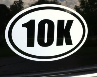 "10K Marathon Runner Euro Oval 5"" Vinyl Decal Widow Sticker for Car, Truck, Motorcycle, Laptop, Ipad, Window, Wall, ETC"