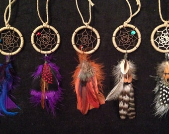 2 inch dreamcatcher single feathered bottom