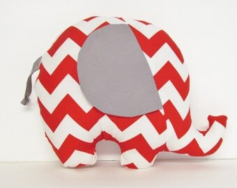 Red Chevron and Gray Stuffed Elephant Baby Toy Pillow, Nursery Pillow Decor, Photography Prop