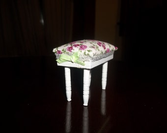 REDUCED! Dollhouse Miniature Ottoman Refurb|Shabby Chic