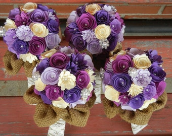 Small Handmade Paper Wedding Flower Girl or Toss Bouquet ANY Colors Free matching Boutonniere Shades of Purple, Cream, Burlap