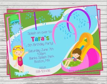Girls Splash Park, Water Slide DIGITAL Birthday Invitation.