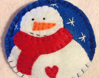 Adorable Felt Snowman Christmas Ornament