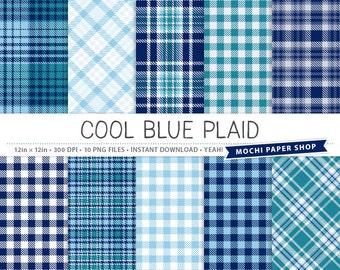 Blue Plaid Digital Paper, Digital Plaid Patterns, Blue Paper Download, Cardmaking, Navy Blue Texture, Scrapbook Plaid PNG Files